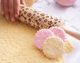 Embossing Rolling Pin Roller with Your Pattern Engraved Rolling-pin Pekingese Small Rolling  Pin for Cookies with Dog/'s Body