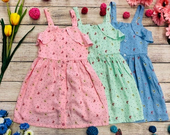 daf52d490bd Unik Girl Summer Butterfly Dress with Front Row Buttons Pink Mint Blue