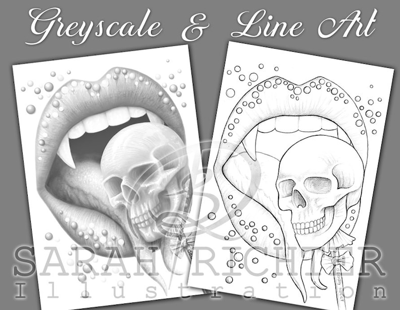 Deadly Sweet / Greyscale & Line Art Coloring Page Pack / image 0