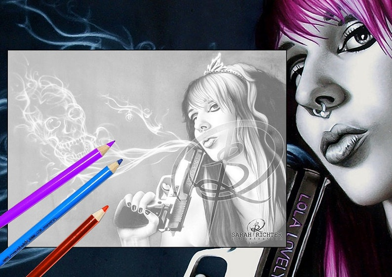Lola Lovely / Greyscale-Coloring Page / Gothic Fantasy / image 0