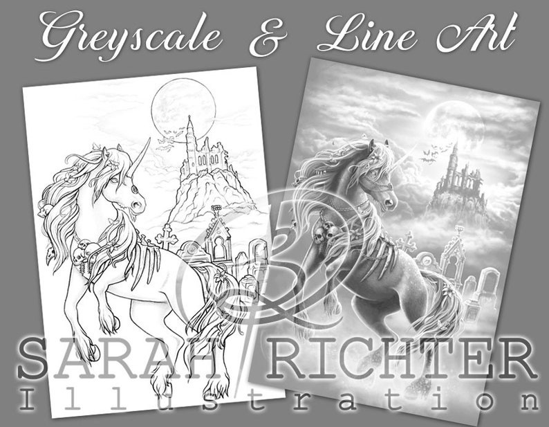 Dark Unicorn 2 / Greyscale & Line Art Coloring Page Pack / image 0
