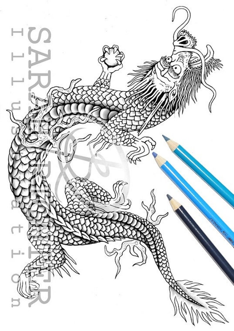 Drago / Coloring Page  Fantasy by Sarah Richter / printable image 0