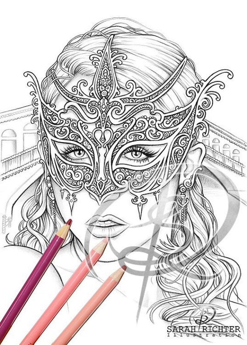 Venice / Coloring Page  Gothic Fantasy by Sarah Richter / image 0