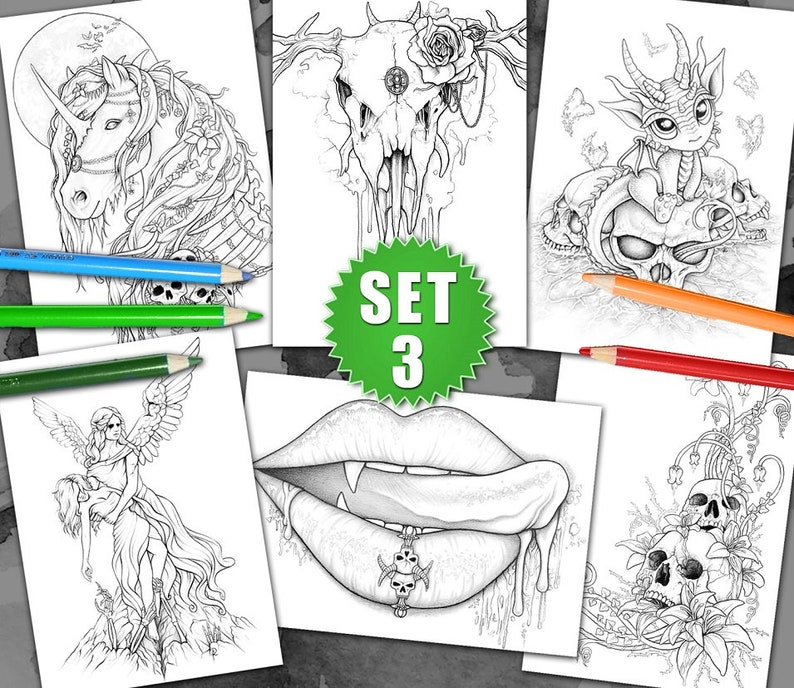 6 Coloring pages  Gothic & Fantasy Pack III by Sarah Richter image 0