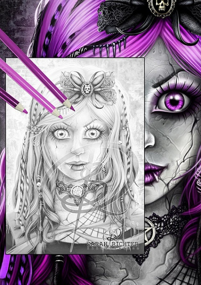Gothic Doll / Greyscale-Coloring Page / Gothic Fantasy / image 0