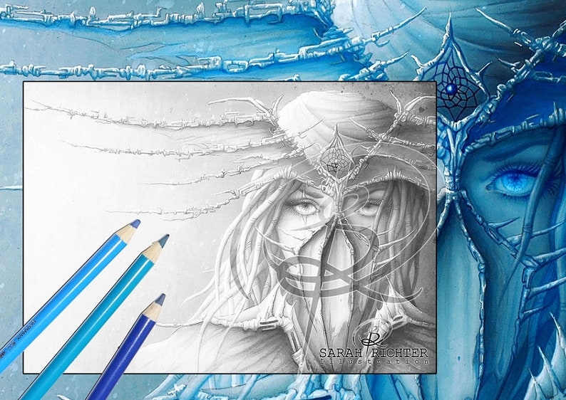 Dreamcatcher / Greyscale-Coloring Page / Gothic Fantasy / image 0