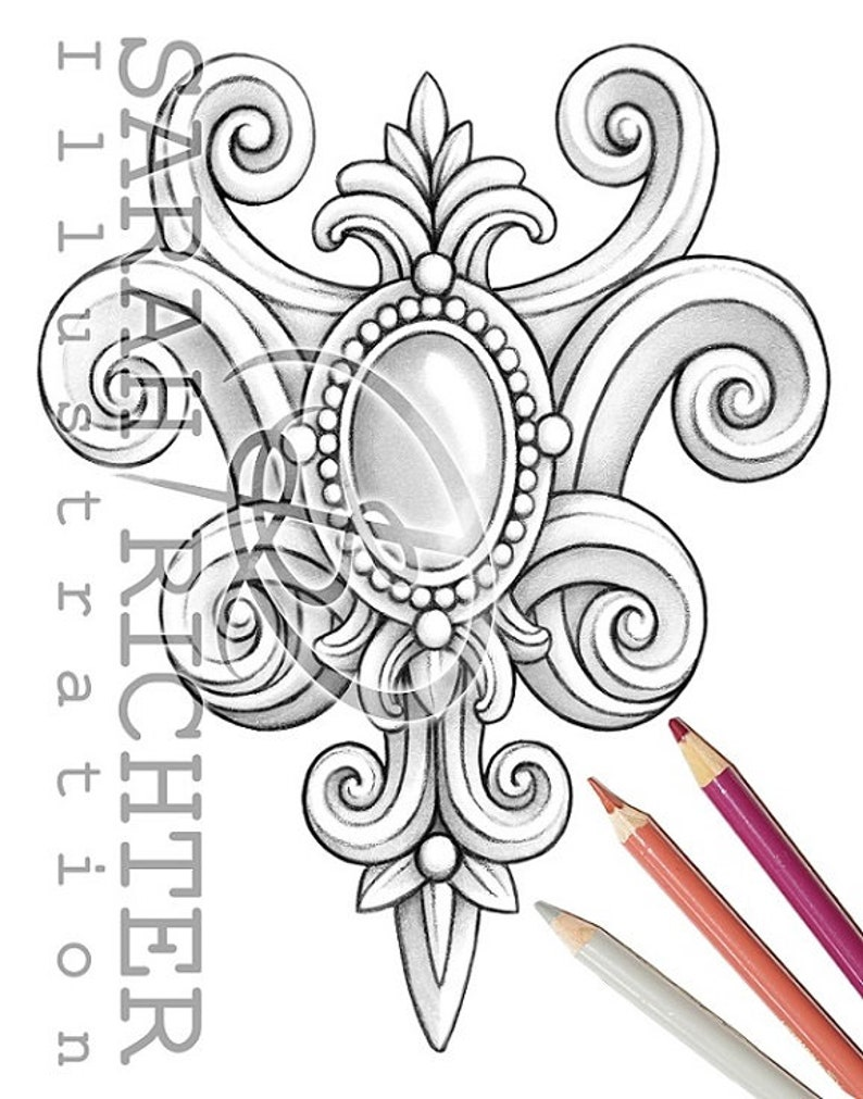 Rokoko / Coloring Page  Gothic brooch by Sarah Richter / image 0