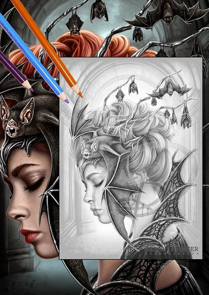 Queen of the night / Greyscale-Coloring Page / Gothic Fantasy image 0