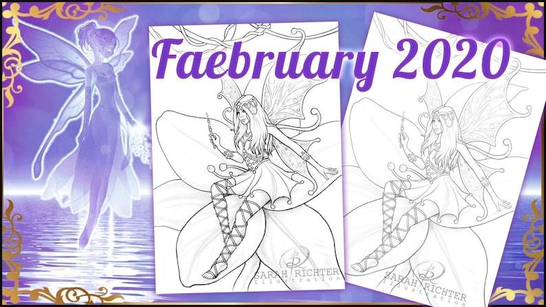 Faebruary2020 Elvina Coloring Page  Fairy Fantasy image 0