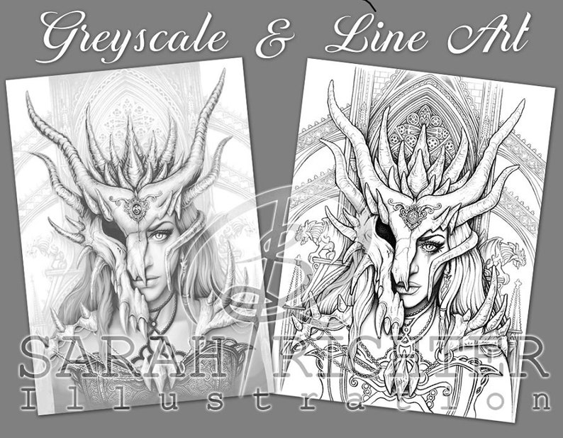 Dragon Mask / Greyscale & Line Art Coloring Page Pack / Gothic image 0