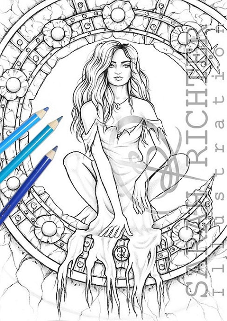 Midnight / Coloring Page  Gothic Fantasy by Sarah Richter / image 0