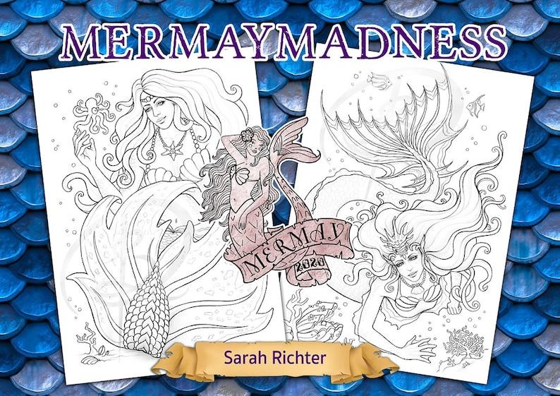Mermay Madness / Coloring page Set / Printable pdf colouring image 0