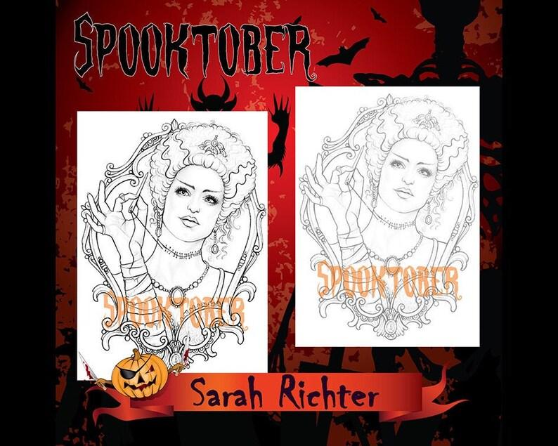 Frankensteins Bride Spooktober2020 PDF Coloring Page  by Sarah image 1