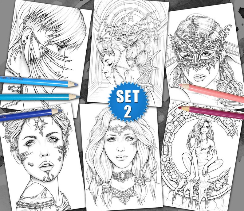 6 Coloring Pages   Gothic & Fantasy Pack II by Sarah Richter image 0