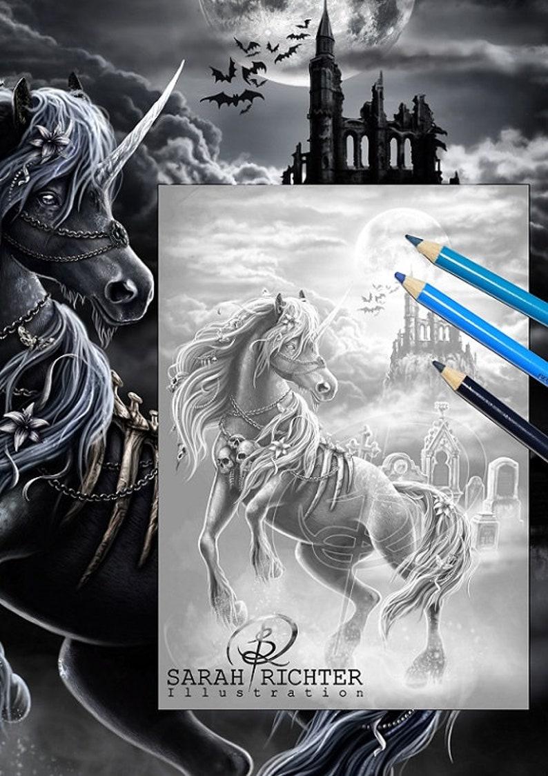 Dark Unicorn 2 / Greyscale-Coloring Page / Gothic Fantasy / image 0