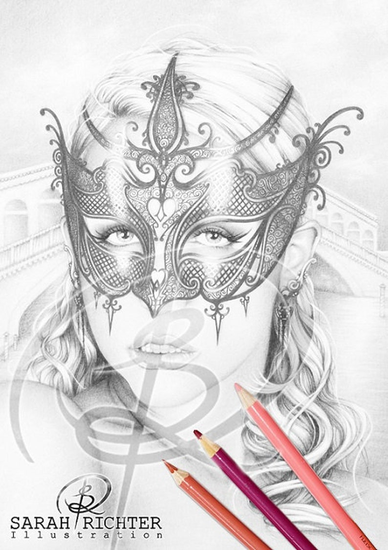 Venice / Greyscale-Coloring Page / Gothic Fantasy by Sarah image 0