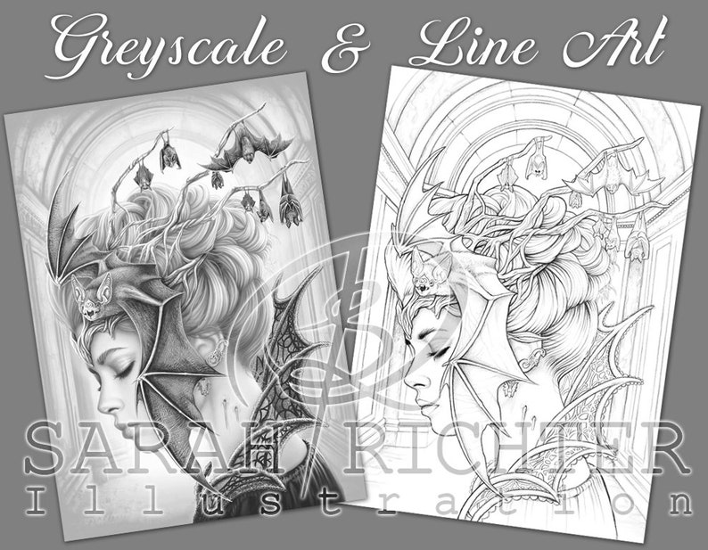 Queen of the night / Greyscale & Line Art Coloring Page Pack / image 0