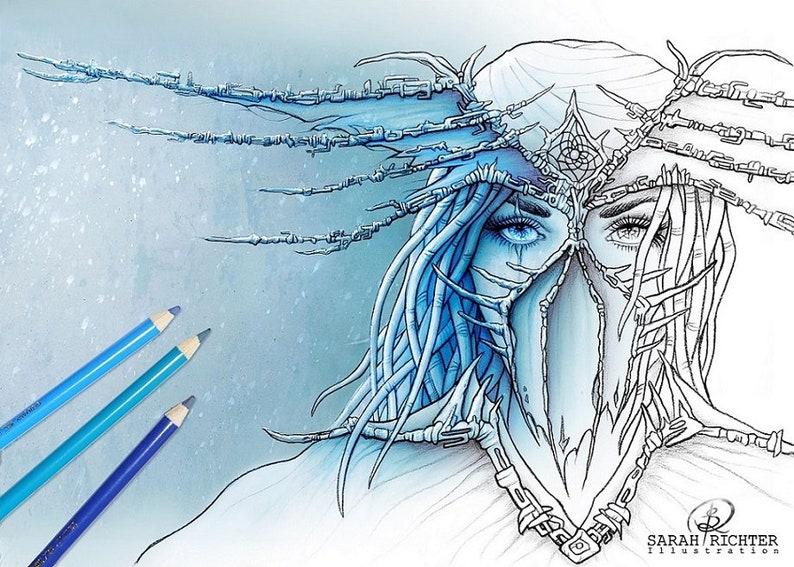Dreamcatcher / Coloring Page  Gothic Fantasy by Sarah Richter image 0