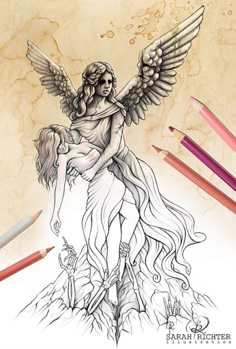 The eternal fight / Coloring Page  Gothic Fantasy by Sarah image 0