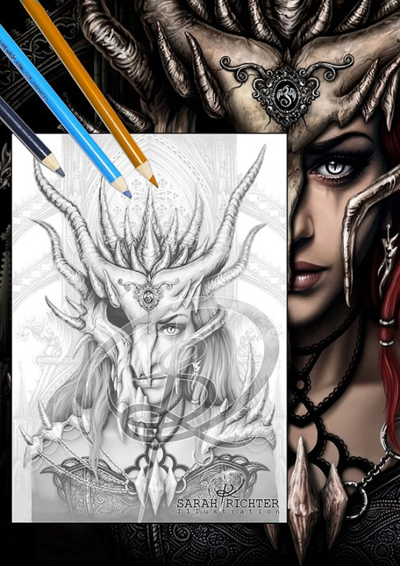 Dragon Mask / Greyscale-Coloring Page / Gothic Fantasy / image 0
