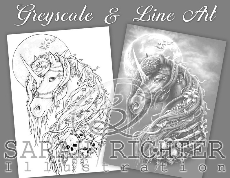 Dark Unicorn 1 / Greyscale & Line Art Coloring Page Pack / image 0