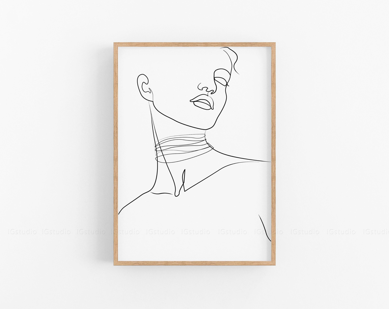 Single Line Art Female Print One Line Drawing Printable line   Etsy