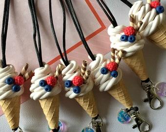 Soft Serve Ice Cream Lanyard * Polymer clay lanyard * teacher lanyard * blueberry &raspberry lanyard * ice cream lanyard *