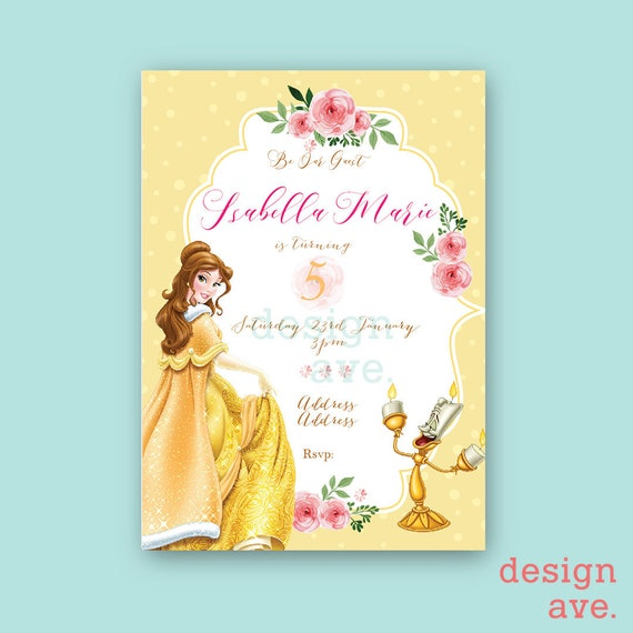 photograph about Free Printable Beauty and the Beast Birthday Invitations named Splendor and the Beast Belle Birthday Invitation with No cost Thank On your own Card