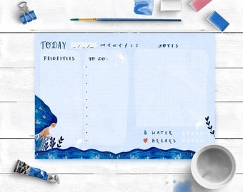 A5 Marine Dotted daily planner notepad by Malgo Frej