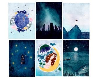 Set of 6 postcards, Scottish Landscapes, Hebrides and Western Isles of Scotland, Ostara Card, Pagan Art poscards