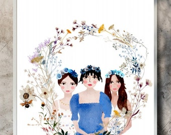 Personalised bridesmaids portrait painted with digital watercolours in sizes A4 or A3 by Malgo Frej