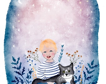 Personalised child's portrait in sizes A4 or A3 painted by Malgo Frej