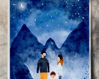 Personalised watercolour custom couple portrait in sizes A4 or A3