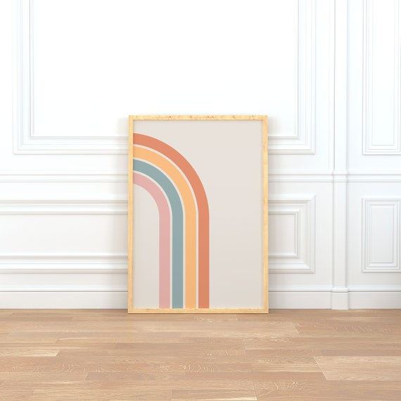 trending now Mid century modern Boho rainbow print abstract arch printable