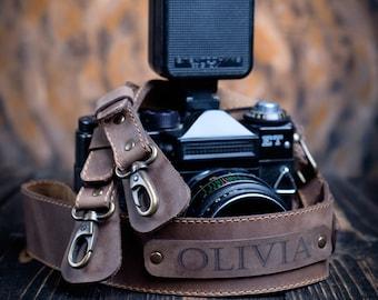 Personalized Camera Strap   Photographer Gift   Great Leather Camera strap   Custom Engraved Canon Nikon Camera Strap 
