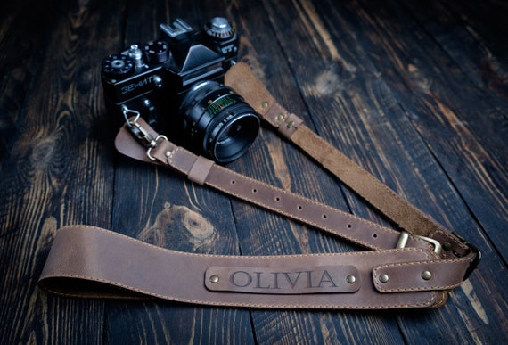 Hand Made Quality Craftsmanship Personalized with Your Name or Coordinates Leather Camera Strap Photographer Photographer gift