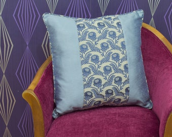 """Beautiful Blue & Silver Floral Panel Piped Cushion Cover / Pillow Cover 20"""" x 20"""""""