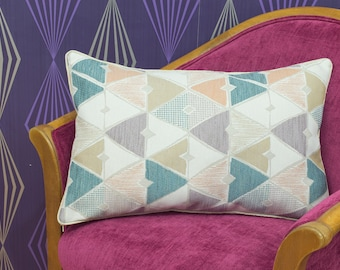 """Geometric Diamonds Chenille Piped Cushion Cover / Pillow Cover 22"""" x 13"""""""