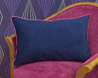 """Blue & Pink Plain Chenille Piped Cushion Cover / Pillow Cover 22"""" x 13"""""""