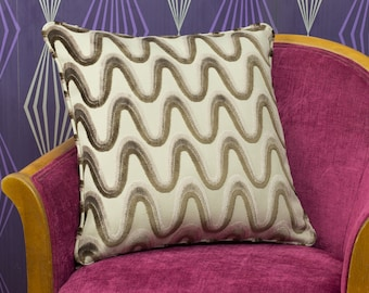 """Nina Waves Brown & Beige Cut Velvet Piped Cushion Cover / Pillow Cover 18"""" x 18"""""""