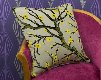 """Gold & Black Floral Cut Velvet Large Piped Cushion Cover / Pillow Cover 20"""" x 20"""""""
