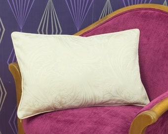 """Paisley Cream & Beige Piped Cushion Cover / Pillow Cover 22"""" x 13"""""""