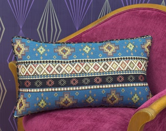 """Abstract Blue Chenille Piped Cushion Cover / Pillow Cover 22"""" x 13"""" / 20"""" x 13"""""""