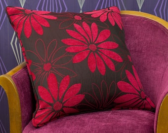 """Rufus Red & Black Floral Chenille Large Piped Cushion Cover / Pillow Cover 20"""" x 20"""""""