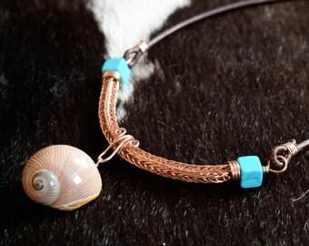 Wikinger Armband aus Kupfer Messing Wikingerschmuck Natur Schmuck Perlen blau viking knit Flechtkette