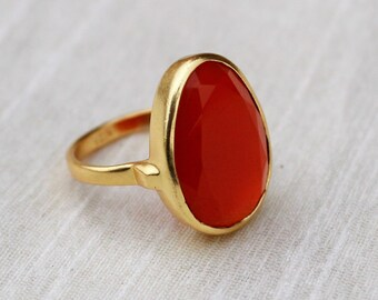 Promise Ring Natural Carnelian Ring Gold Plated Ring Statement Ring,August Birthstone Ring 925 Sterling Silver Ring Handmade Ring