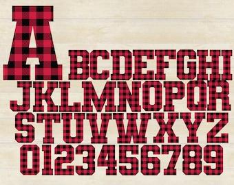 Buffalo Plaid Alphabet SVG, Plaid Alphabet, Plaid Letters, Plaid Numbers, Cricut, SVG/PNG/Ai/dgx/eps