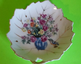 White Gardenia Flower Home Decor Vanity Dish Hand Painted Pin Dish Small Porcelain Decorative Plate
