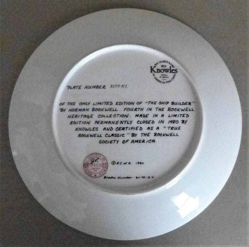 NORMAN ROCKWELL Decorative Plate \u201cThe Ship Builder\u201d  1980 Bradex # 84-70-3.4 Knowles Plate # 3279 AC