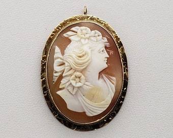 10k Cameo Rope Chain 10K Shell Cameo Pendant Unusual Design Cameo 16 Gold Carved Shell Cameo Pendant 10k Cameo Carved Etched Gorgeous
